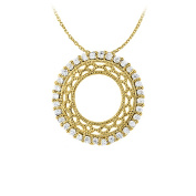 Fine Jewellery Vault UBNPD31561AGVYCZ Awesome Cubic Zirconia Circle Pendant in Yellow Gold Vermeil with Free Chain