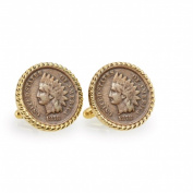 UPM Global LLC 12730 1800s Indian Head Penny Goldtone Rope Bezel Cuff Links