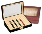 Budd Leather 500432-1 Leather 12 Pen Box With Glass Top - Black