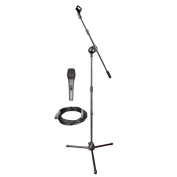 PylePro PMKSM20 Microphone and Tripod Stand with Extending Boom & Mic Cable Package