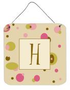 Carolines Treasures CJ1004-HDS66 Letter H Initial Monogram - Tan Dots Aluminium Metal Wall Or Door Hanging Prints