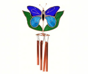 Gift Essentials GE151 Dark & Light Blue Butterfly With Leaves Wind Catcher
