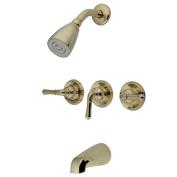 Kingston Brass KB232 Three Handle Tub & Shower Faucet