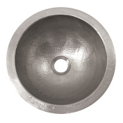 The Copper Factory Solid Hand Hammered Copper Small Round Self Rimming Lavatory Sink in Satin Nickel Finish - CF147SN