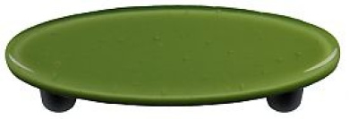 Hot Knobs HK1019-POB Olive Green Oval Glass Cabinet Pull - Black Post