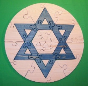 THE PUZZLE-MAN TOYS W-1221 Wooden Educational Jig Saw Puzzle - 46cm . Circle - Star Of David