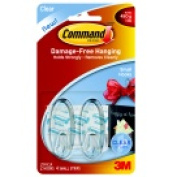 Command Small Clear Hook With 4 Adhesive Strips - 0.5kg. - Pack 2