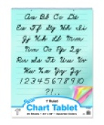 Pacon 80cm x 60cm . Bond Paper 2 Hole Punched Coloured Paper Cursive Cover Spiralbound Chart Tablet