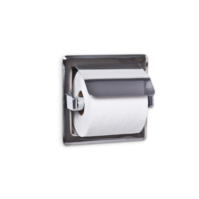 AJW UX71-BF Single Bright Hooded Toilet Tissue Dispenser - Recessed