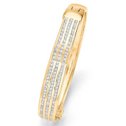 PalmBeach Jewellery 48665 3.63 TCW Round Cubic Zirconia 14k Yellow Gold-Plated Triple-Row Bangle Bracelet 8