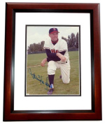 20cm x 25cm . Maurice McDermott Autographed California Angels Photo Mahogany Custom Frame
