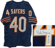 Gale Sayers Signed Navy Custom Jersey With HOF 77