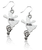 Whimsical Gifts 3258S-ER Ghost Charm Earrings Silver