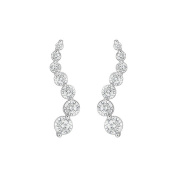 Fine Jewellery Vault UBER2108W14CZ Cubic Zirconia Journey Earrings 14K White Gold 2.00 CT Cubic Zirconia
