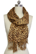 In Things 117651 Satin Finish Leopard Printed Scarf