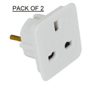 ShaniTech Pack of 2 UK to Europe Euro Travel Adaptor suitable for France, Germany, Spain, Egypt, China - Refer to Description for country list