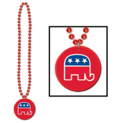Beistle 66657 Beads With Republican Medallion Pack Of 12