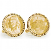 UPM Global LLC 12764 Gold-Layered Silver Jefferson Nickel Wartime Nickel Goldtone Rope Bezel Cuff Links