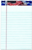 TOPS 75101 American PrideWriting Tablet US Flag headtape white 50 SH per PD 12 PD per PK