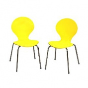 Giftmark 3013Y Modern Childrens 2 Chair Set with Chrome Legs - Yellow