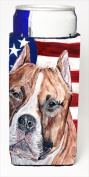 Carolines Treasures SC9632MUK Staffordshire Bull Terrier Staffie With American Flag Usa Michelob Ultra bottle sleeves Slim Cans 350ml