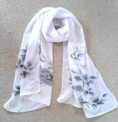 Silky Flora Print Scarf Black/White