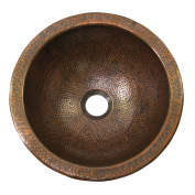 The Copper Factory Solid Hand Hammered Copper Small Round Self Rimming Lavatory Sink in Antique Copper Finish - CF147AN