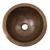 The Copper Factory Solid Hand Hammered Copper Medium Round Undermount Lavatory Sink in Antique Copper Finish - CF148AN