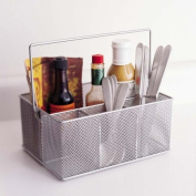 YBMHome 1151m Mesh Silver Condiment Caddy - Kitchen Supply Utensil Napkin Holder