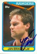 Autograph Warehouse 68343 Jan Erixon Autographed Hockey Card New York Rangers 1990 Topps No. 187