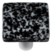 Hot Knobs HK8059-KA Granite Black & White Square Glass Cabinet Knob - Aluminium Post