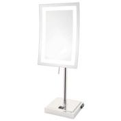 Jerdon Style JRT910CL 13cm X 17cm . x 23cm . LED Lighted Table Top Chrome Height 43cm . AC Convenience Outlet