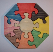 THE PUZZLE-MAN TOYS W-1148 Wooden Educational Jig Saw Puzzle - 28cm . Octagon