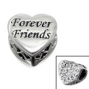 "Silvadore - Silver Bead - ""Forever Friends"" Engraved Heart Plaque Mini Cut Crystal Cz Back - 925 Sterling Charm 3D Slide On 589 - Fits Pandora European Bracelet."