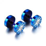 JewelryWe Pair of Stainless Steel Fake Ear Plugs - Illusion of 8mm Cheater Stretchers - Star Fake Flesh Plugs Blue