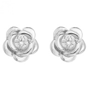 Ornami Sterling Silver Pearl and Cubic Zirconia Set Rose Flower Front Back Earrings