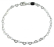 "Solid 925 Sterling Silver Childrens 6.5"" inch (16.5cm) Flat Heart Link Charm Bracelet In Gift Box"