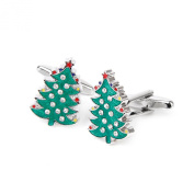 Tree Pattern Cufflinks Cuff Links Birthday Gift Green and Silver