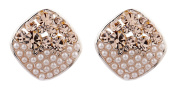 CLIP ON EARRINGS - ROSE GOLD PLATED DIAMANTE & PEARL - Emma G by Bello London