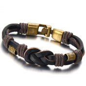 Friendship Nautical Knot Brown Leather Bracelet for Men and Women Double-row Leather Wristband