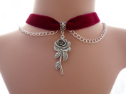 Classic Gothic Plain Red Wine Velvet 16mm Choker With a 40mm Rose Charm With Silver-plated Chain