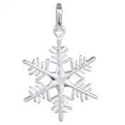 Bigood Charms Plated 925 Sterling Silver Sliver Snowflake Pendant with 46cm Chain