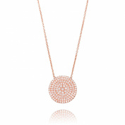 Ingenious Jewellery Sterling Silver Plated Necklace with Large Pave Circle Pendant of 41.5-45cm