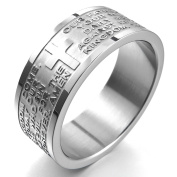 MunkiMix Wide 8mm Stainless Steel Ring Band Silver English Bible Lords Prayer Cross Vintage Men,Women