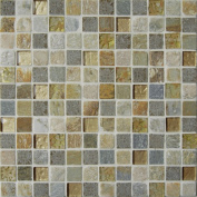 Intrend Tile 1 x 1 Sandy Beach Stone And Glass Square Grey And Tan With Sea Shell Accent