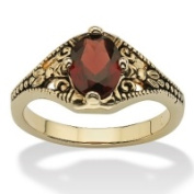 PalmBeach Jewellery 6163_8 1.40 TCW Oval Cut Genuine Garnet 14k Yellow Gold-Plated Antique-Finish Vintage Style Ring Size 8