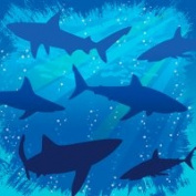 Creative Converting 655887 Shark Splash - Beverage Napkins - Case of 192