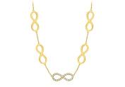 Fine Jewellery Vault UBNK3042AGVYCZ Link Infinity Necklace Tripe Quality CZ in Sterling Silver 18K Yellow Gold Vermeil 0.50 CT