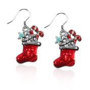 Whimsical Gifts 427S-ER Christmas Stocking Charm Earrings Silver