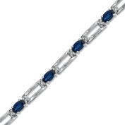 Luis Creations BRB34SD Oval 5 X 3 Sapphire And Diamond Bracelet Set In 14K Gold